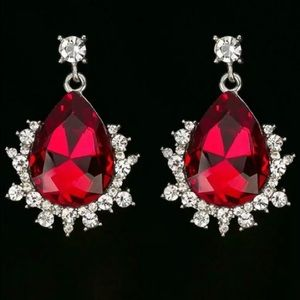 Red Silver Teardrop Dangle Earrings